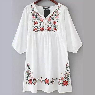 new style d2b3e 43607 29,90EUR Kleid kurz weiss mit Stickerei | spring/summer ...