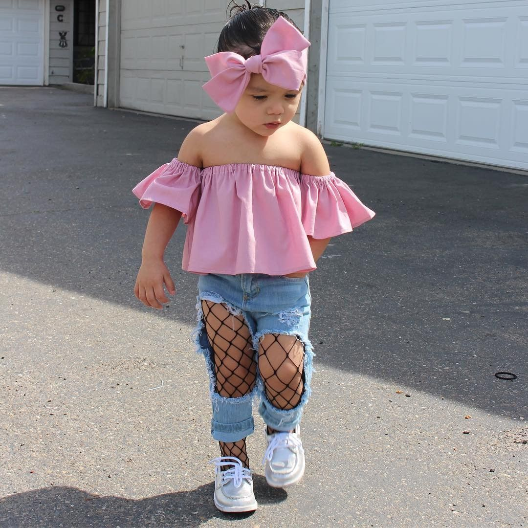 f85554a0e55ac Baby Girl Off Shoulder Top and Headband