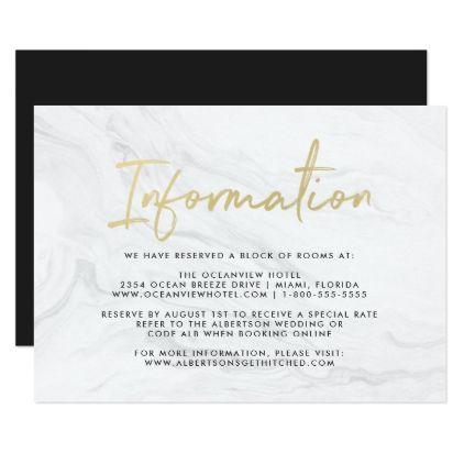 Modern White Marble Gold Script Information Card White marble - invitation information template