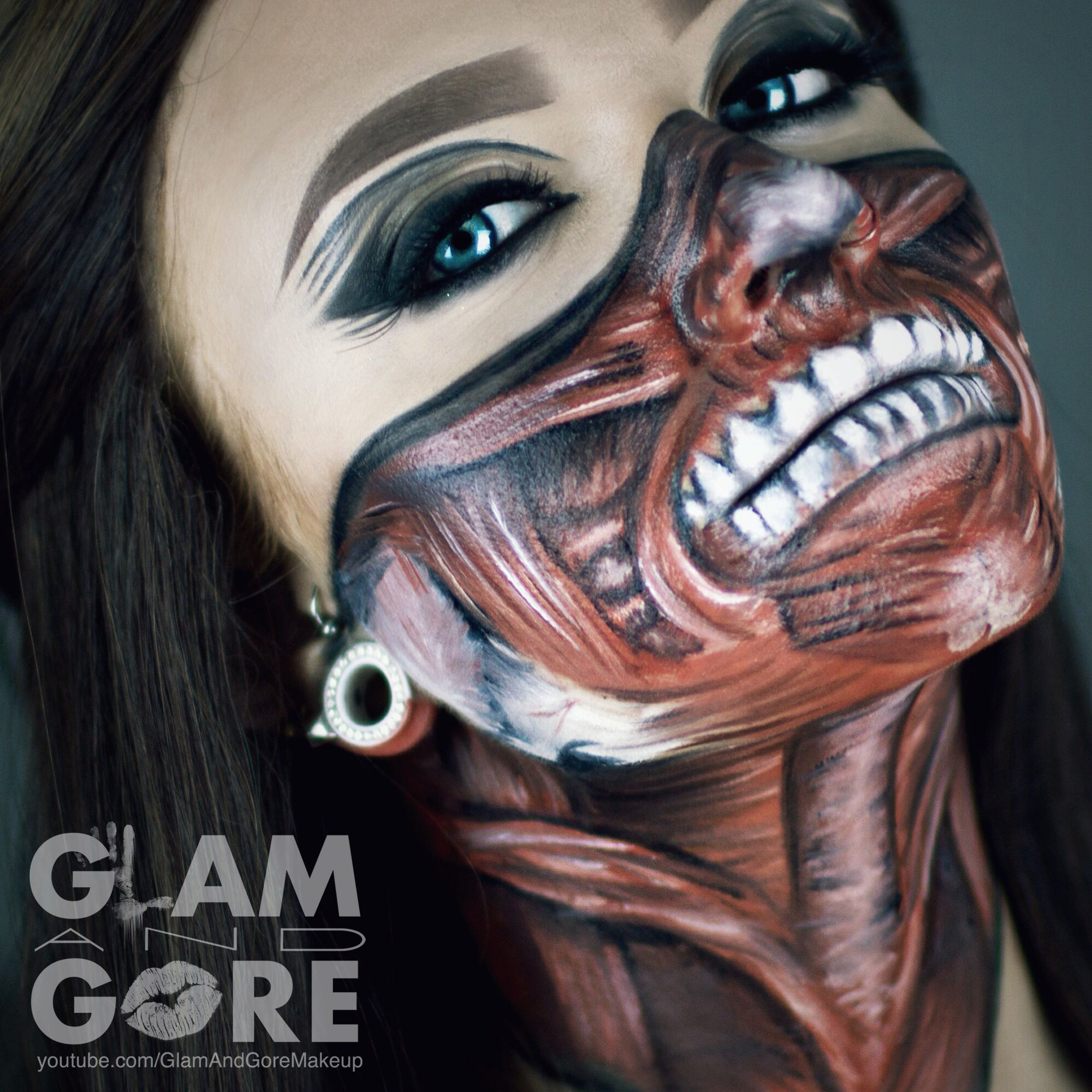 Exposed muscle Bandana face paint. For more makeup looks