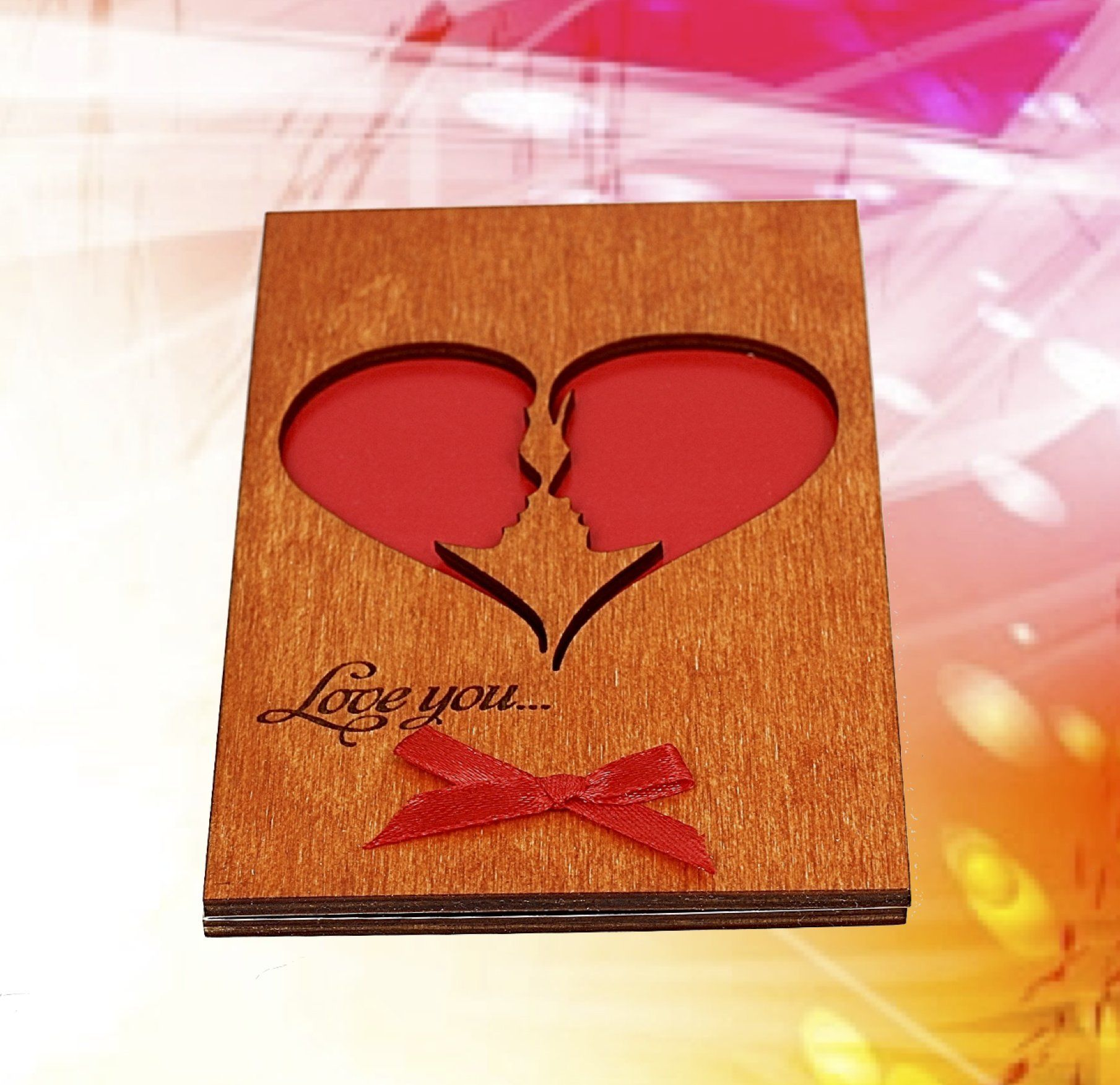 Handmade Real Wood Card Love You He and She Soulmates as a