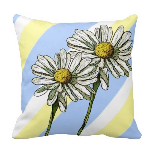 Daisies, Daisy Flowers on Pastel Stripes Pillows