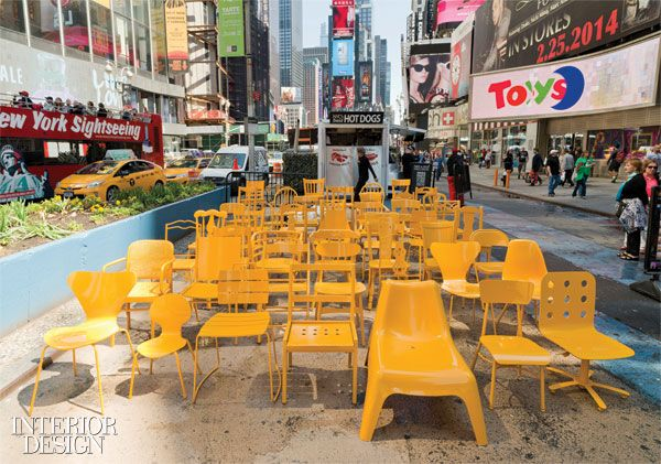 Best Seats In The House 49 Refurbished Chairs Fill Times Square Refurbished Chairs Interior Design Magazine Furniture Decor