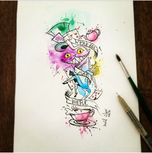 Watercolor Art By Dn Alves Alice In The Wonderland No Pais Das