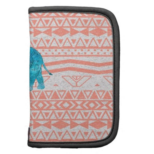 Whimsical Teal Paisley Elephant Pink Aztec Pattern Organizers