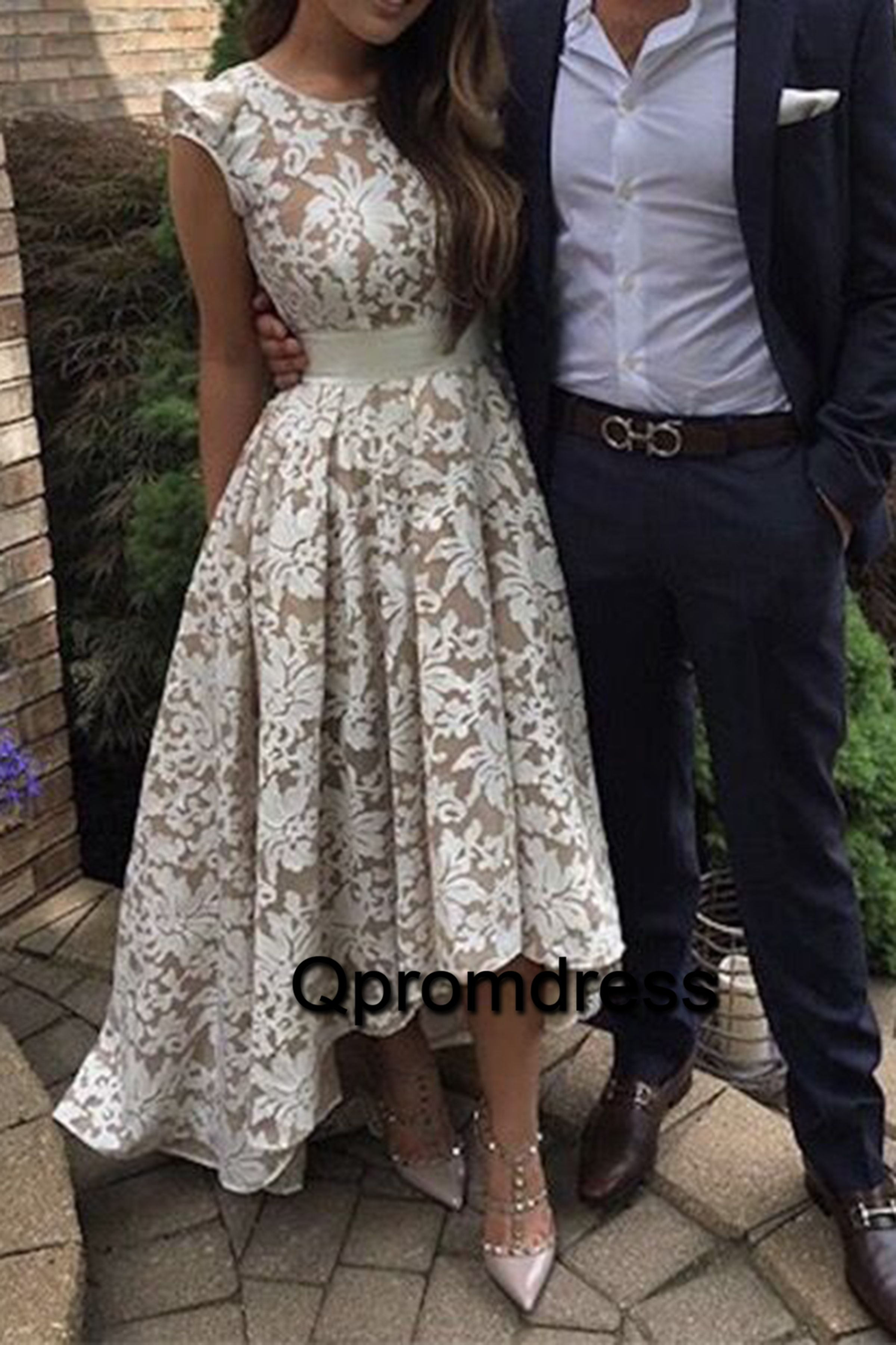 Lace prom dresshigh low prom dress cute white lace evening dress