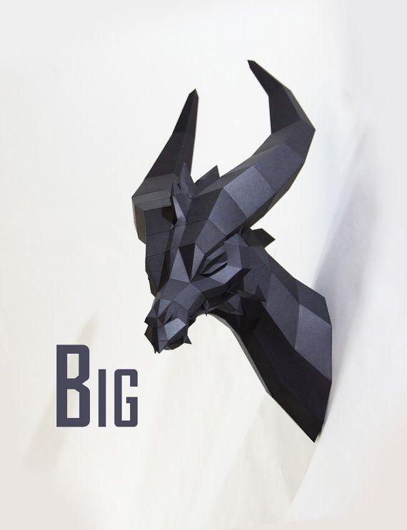 Schwarzer Drache PREMIUM Bastelbogen von PaperwolfsShop auf Etsy