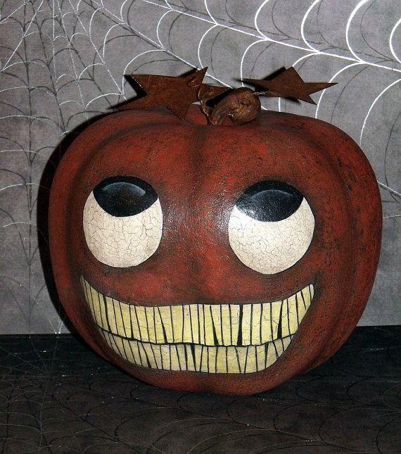 Hand Painted Primitive-Folk Art John Sliney Pumpkin Face Apple Gourd - halloween arts and crafts decorations