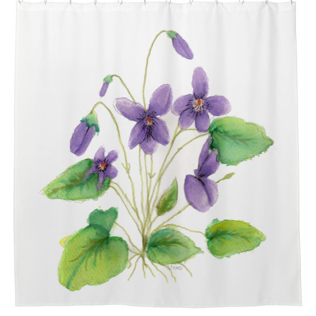 This Violets Shower Curtain features a print of my watercolor wild violets. Perfect for Spring or Summer!