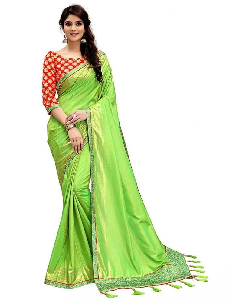 d7ff10d6bc7526 Ethnic Party Women 2 Tone Silk Saree with Free Size Blouse Piece(Parrot  Green) #MonjolikaFashion #Beauty