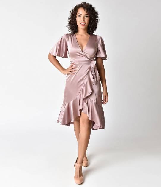 1940s Style Dusty Pink Short Sleeve Satin Midi Wrap Dress