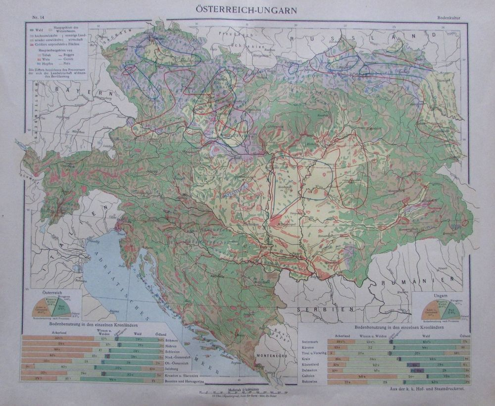 Osterreich Ungarn Bodenkultur 35x29cm Karte Aus 1913 Old Map