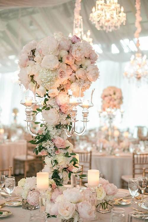 Formal Minnesota Wedding with a Floral Focus, Towering Floral Centerpieces