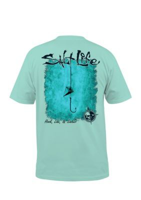 c09bea30d90c Salt Life Men's Hook Line And Sinker Short Sleeve Graphic Tee - Aruba Blue  - 2Xl