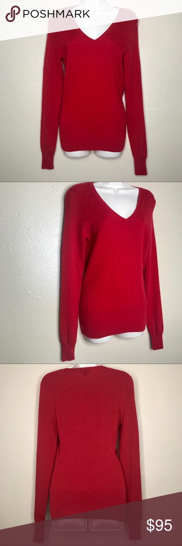 ADAGIO CASHMERE & SEIDE Red V Neck Sweater ADAGIO