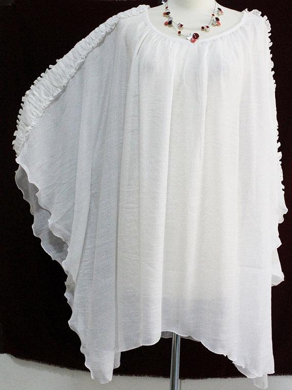 f5579da50c White Sheer See Thru Plus Size 2X 3X 4X 5X Lightweight Caftan Kaftan Top  Poncho Ladies Summer Blouse Asymmetrical Hem Ruffled Sleeves | My Style |  Kaftan ...
