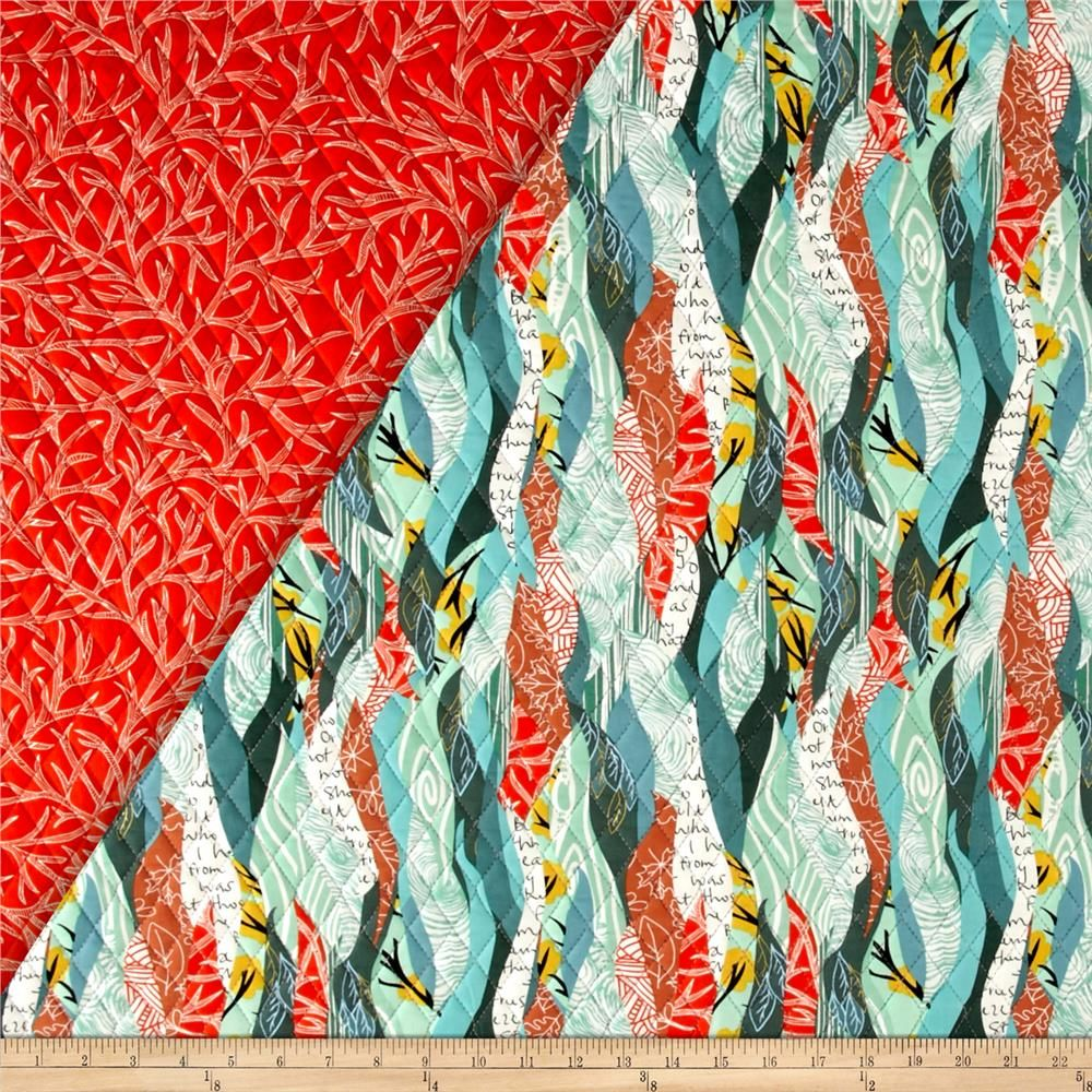 Dryad Double Sided Quilted Green/Coral from @fabricdotcom Designed ... : double sided quilt - Adamdwight.com
