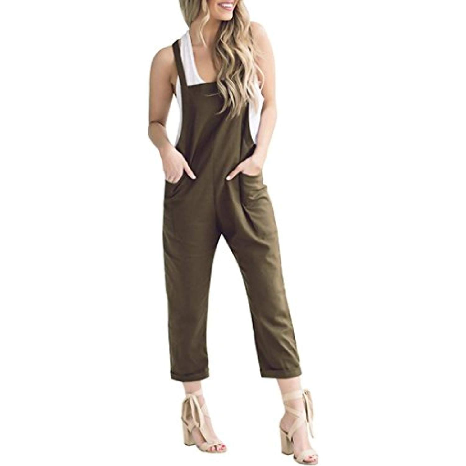 0d3d204a7b2 Women Loose Casual Baggy Jumpsuit Trousers Overall Pants Khakis Wide Leg  Ankle Jeans one Piece Romper