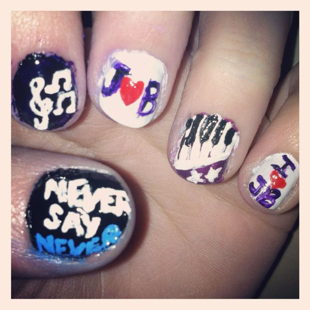Justin Bieber nails :) they\'re pretty but not neat!   Justin Bieber ...