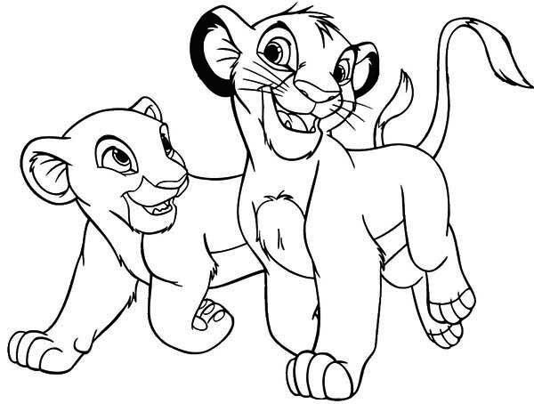 Lion King The Lion King Simba And His Girlfriend Coloring Page Lion King Drawings Lion Coloring Pages Lion King Art