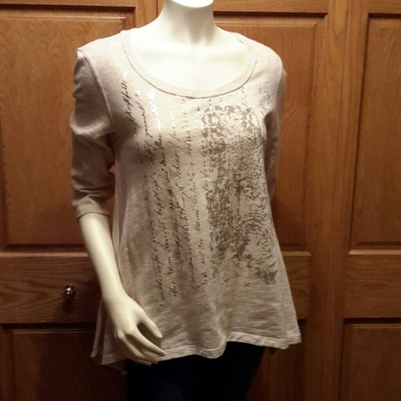 Laura Ashley top Beige with gold screen printing...NWOT Laura Ashley  Tops
