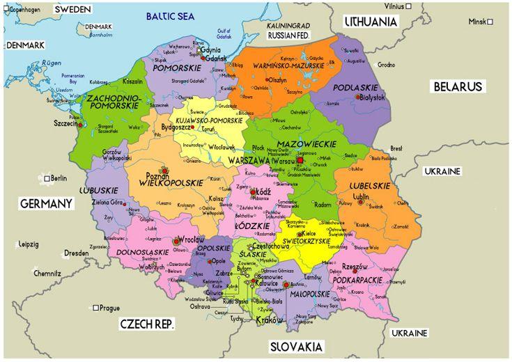 Poland Large Political Map Of Poland Poland