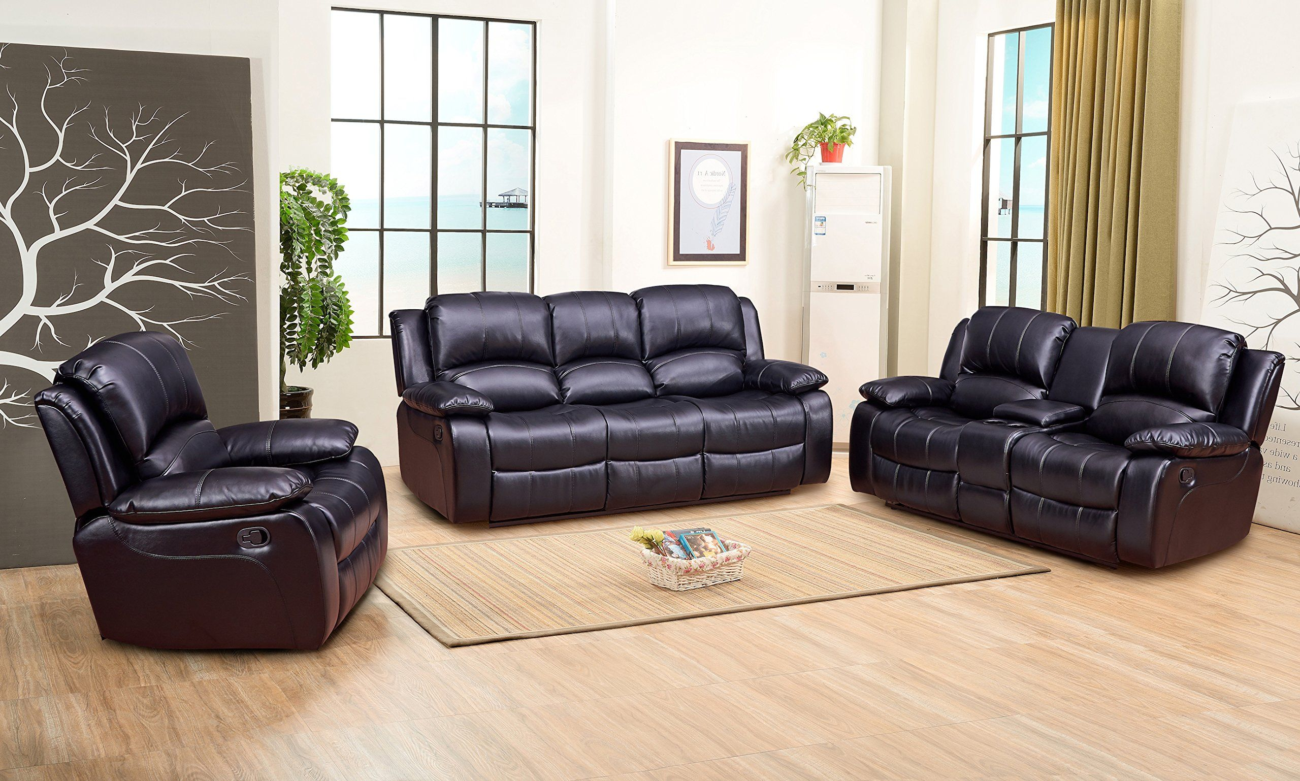 Best Betsy Furniture 3Pc Bonded Leather Recliner Set Living Room Set In Black Sofa Loveseat Cha… 3 400 x 300