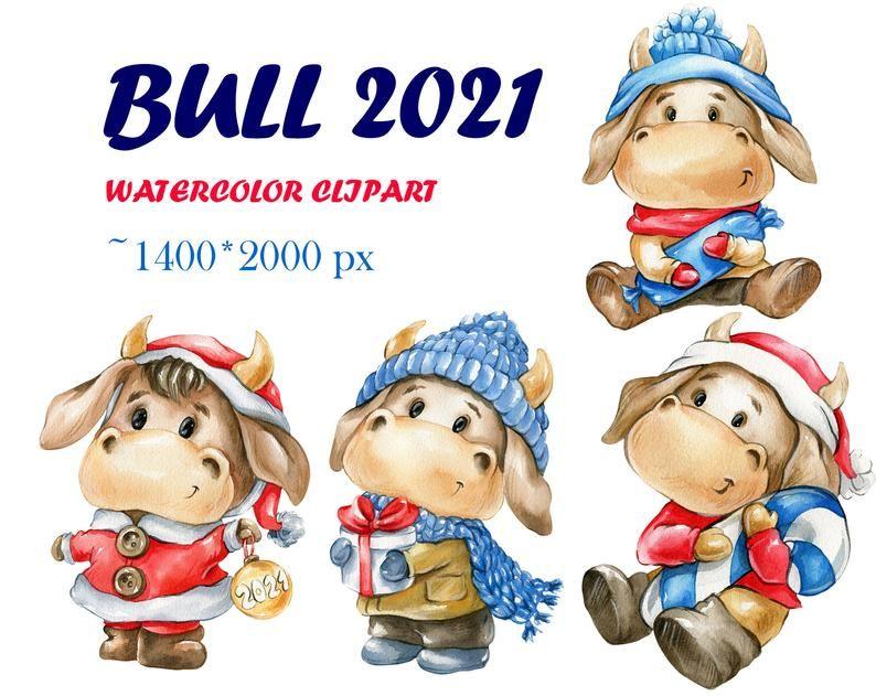 Bull 2021 watercolor New Year's clipart bulls drawings