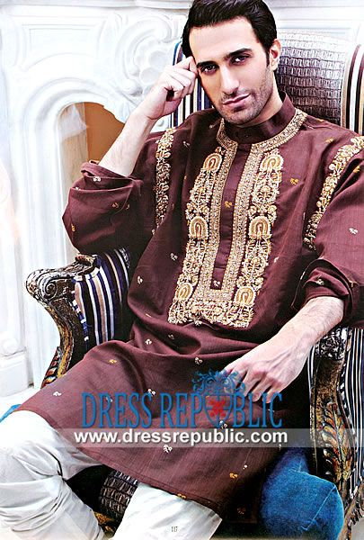b28548d7d1 Eid Kurta Collection 2014 for Men by Dress Republic Maroon Embroidered  Kurta with Churidar Pajamas from