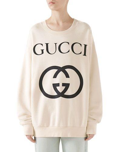 188f73b6c Gucci Heavy Felted Cotton Jersey Oversized Sweatshirt w/ Interlock GG Print