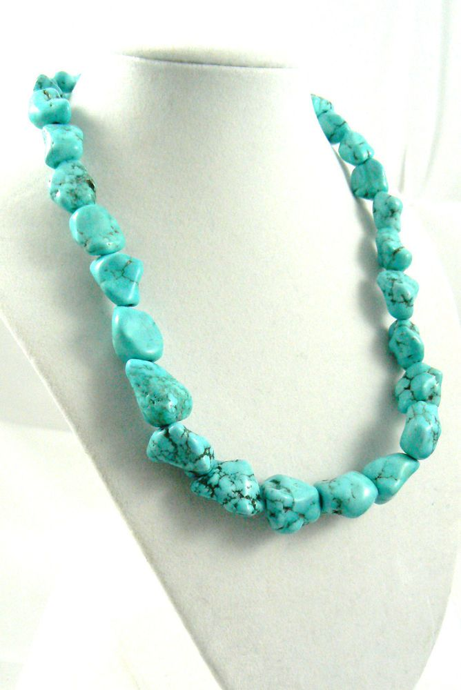 "18"" LONG GENUINE LARGE BLUE TURQUOISE NUGGET LOBSTER CLAW CLASP NECKLACE $0 SH #NA"