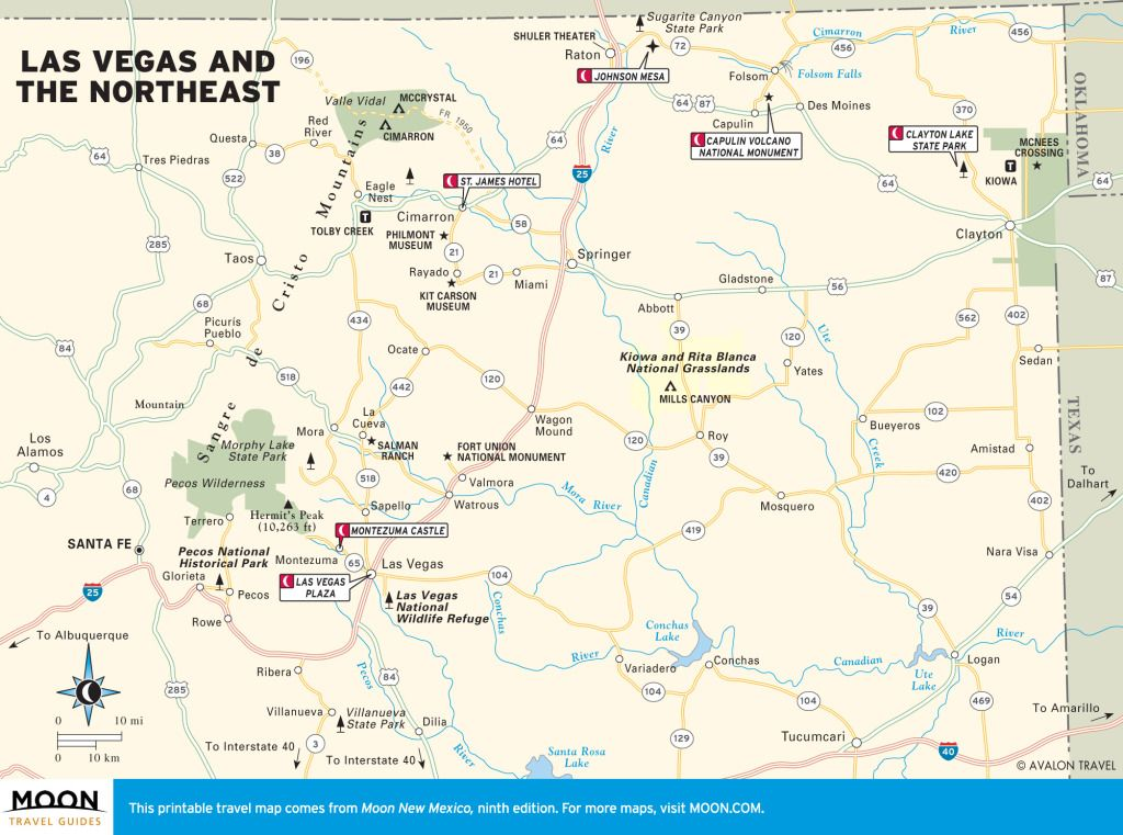 Travel map of Las Vegas and Northeast New Mexico travel New
