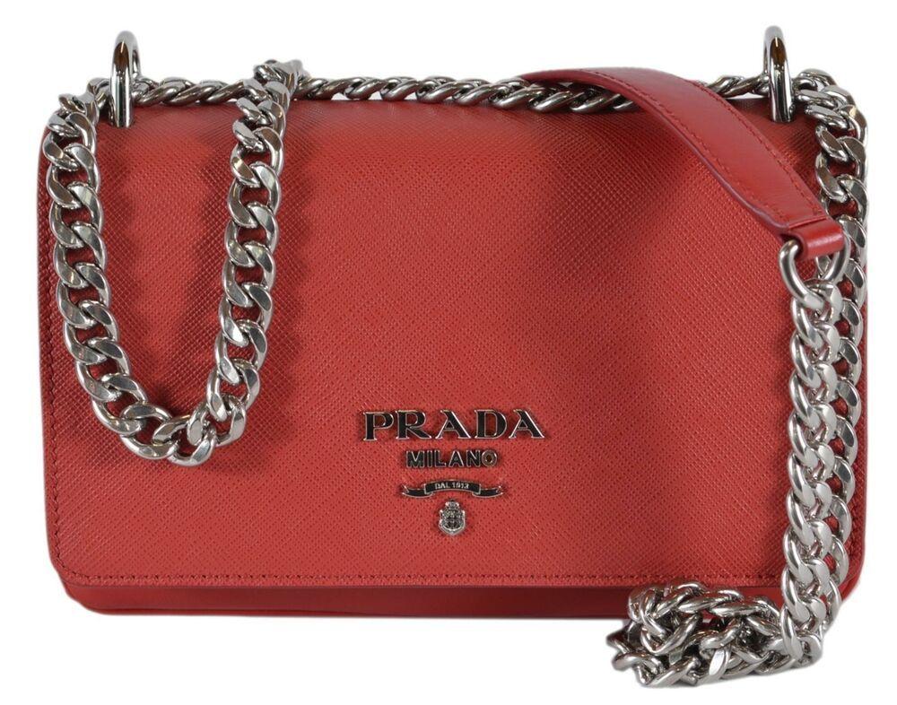 4d76adcaca2e New Prada 1BD144 Soft Fuoco Red Calf Saffiano Leather Crossbody Small Chain  Bag  Prada  Crossbody
