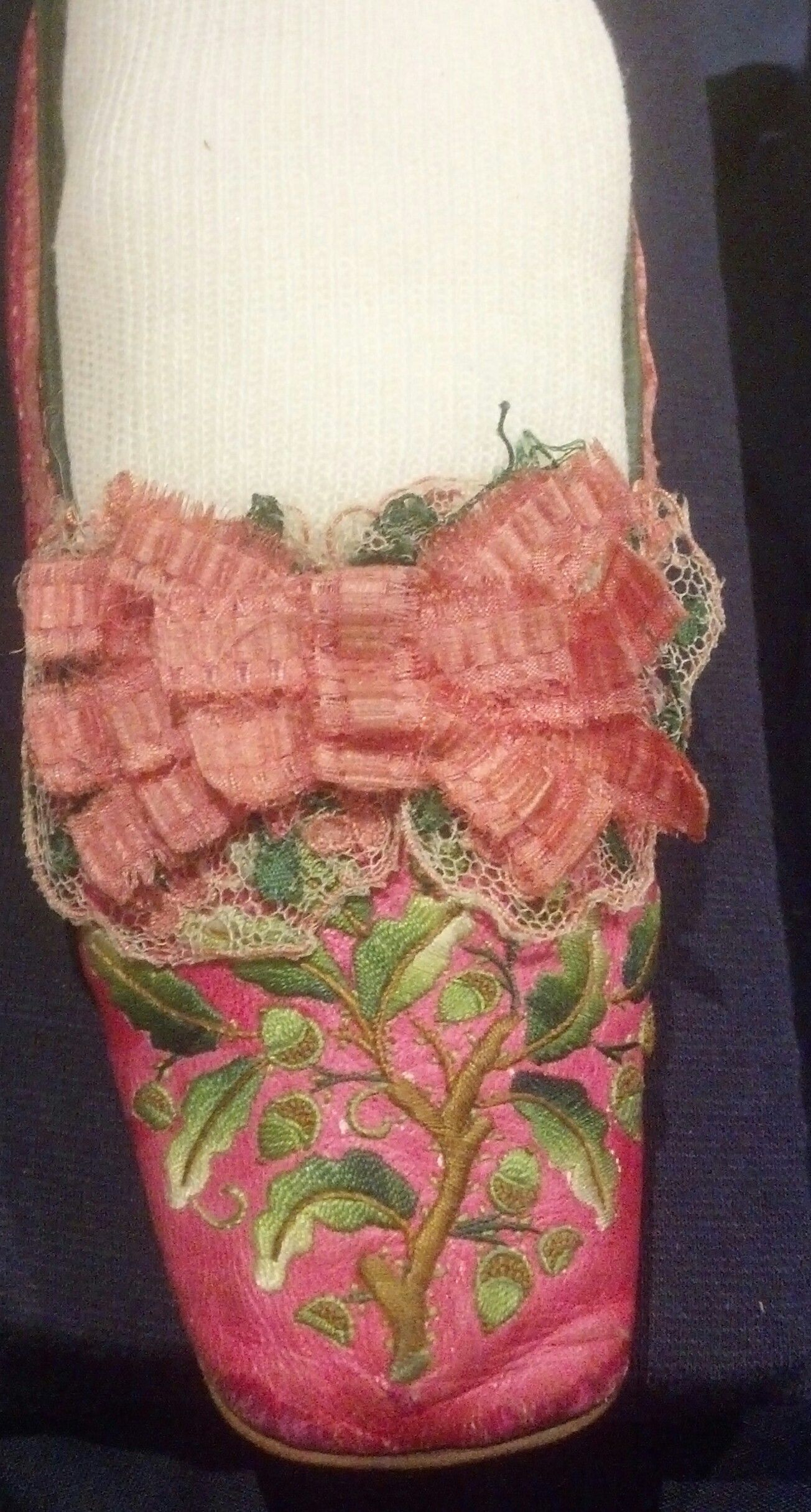 Pink Kid embroidered shoe Susan Greene Historic Clothing Collection