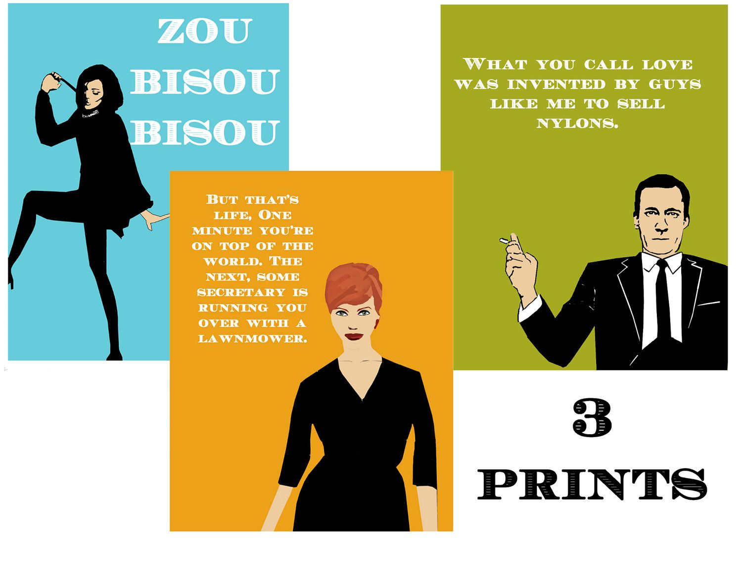 Multiple Sizes When People Get What They Want Mad Men Poster Joan Holloway Colorblock Quote 8x10 up to 24x36 Art Print