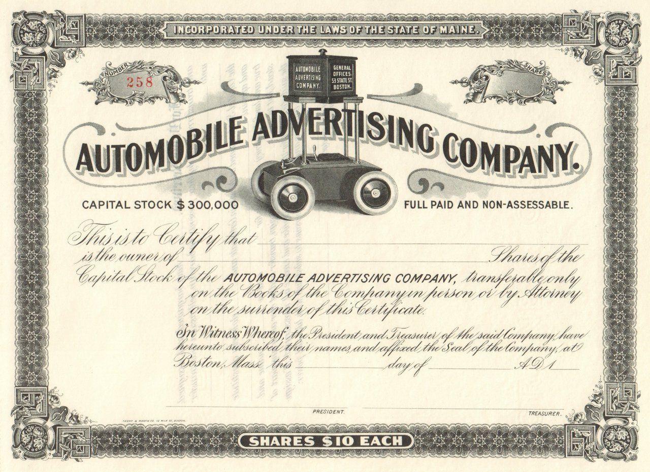 Automobile Advertising Company Circa 1899 Maine Automobile Companies Automobile Advertising