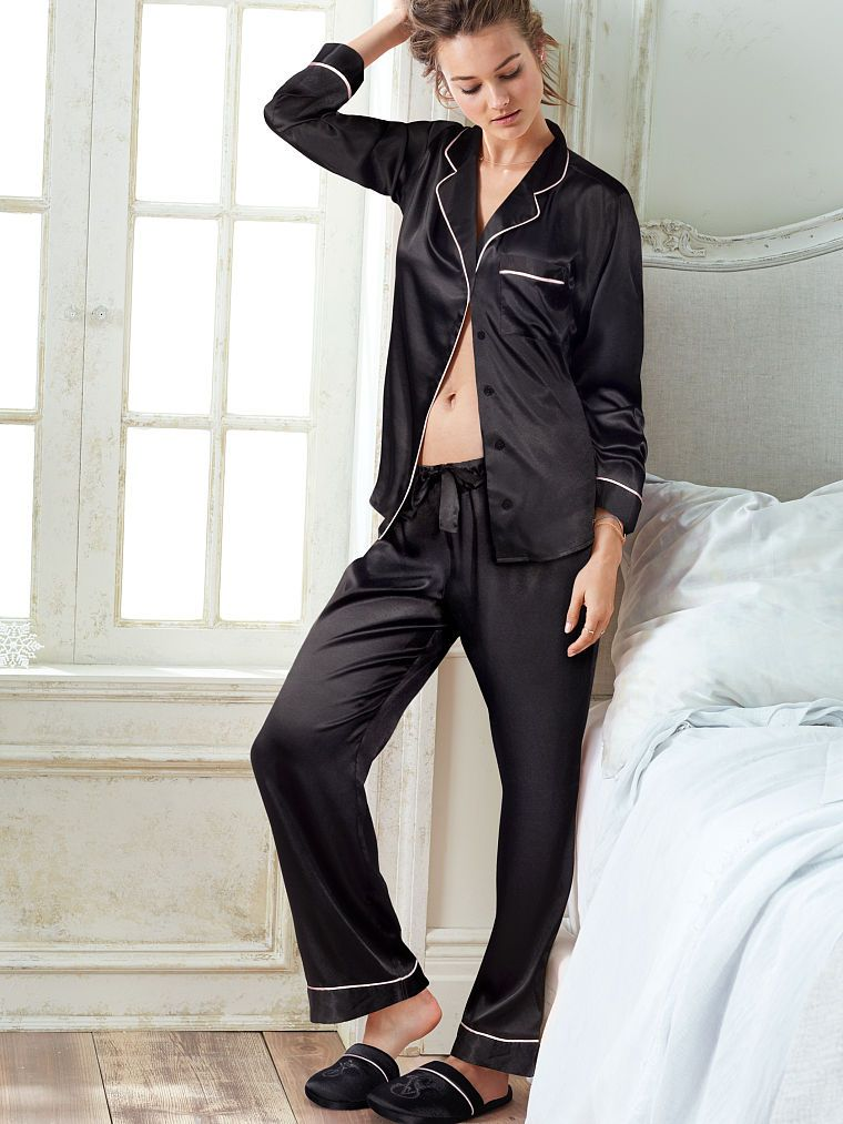Black Silk Pajamas: The Afterhours Satin Pajama
