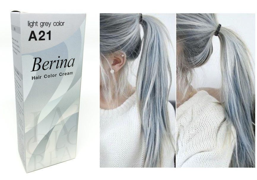 Berina A21 Light Grey Silver Permanent Hair Dye Color Cream Unisex - Punk  Style  Berina c3aa6ddf414c