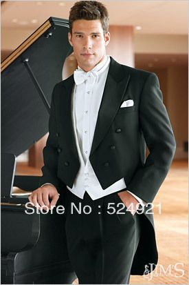 Tailcoat Double-breasted Groom Tuxedos Best Man Peak Lapel Bridegroom Groomsmen Men Wedding Suits(Jacket+Pants+Tie+Vest) A77 US $126.00