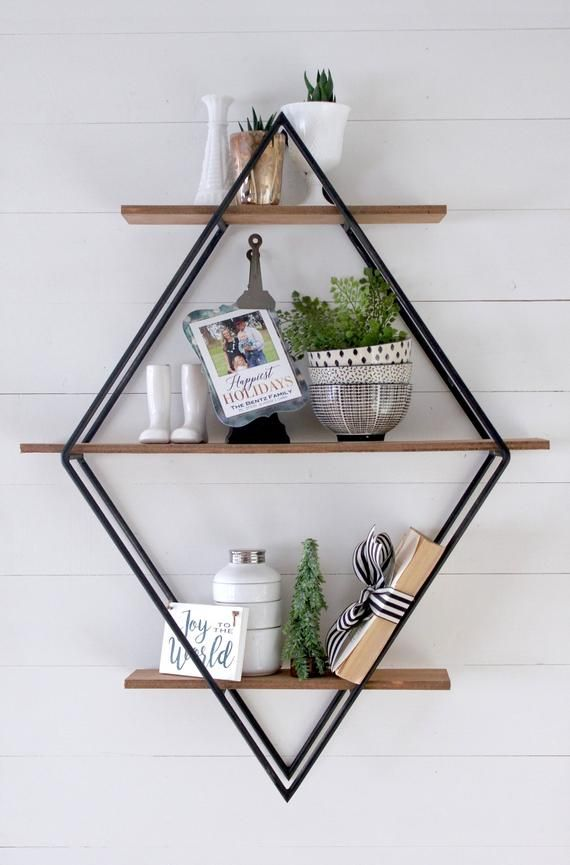 Diamond Book Shelf Metal Amp Wood Geometric Open Shelving Handmade Urban Outfitters