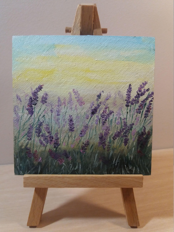 LAVENDER meadow Original painting oil on canvas, small art mini painting, small painting canv...