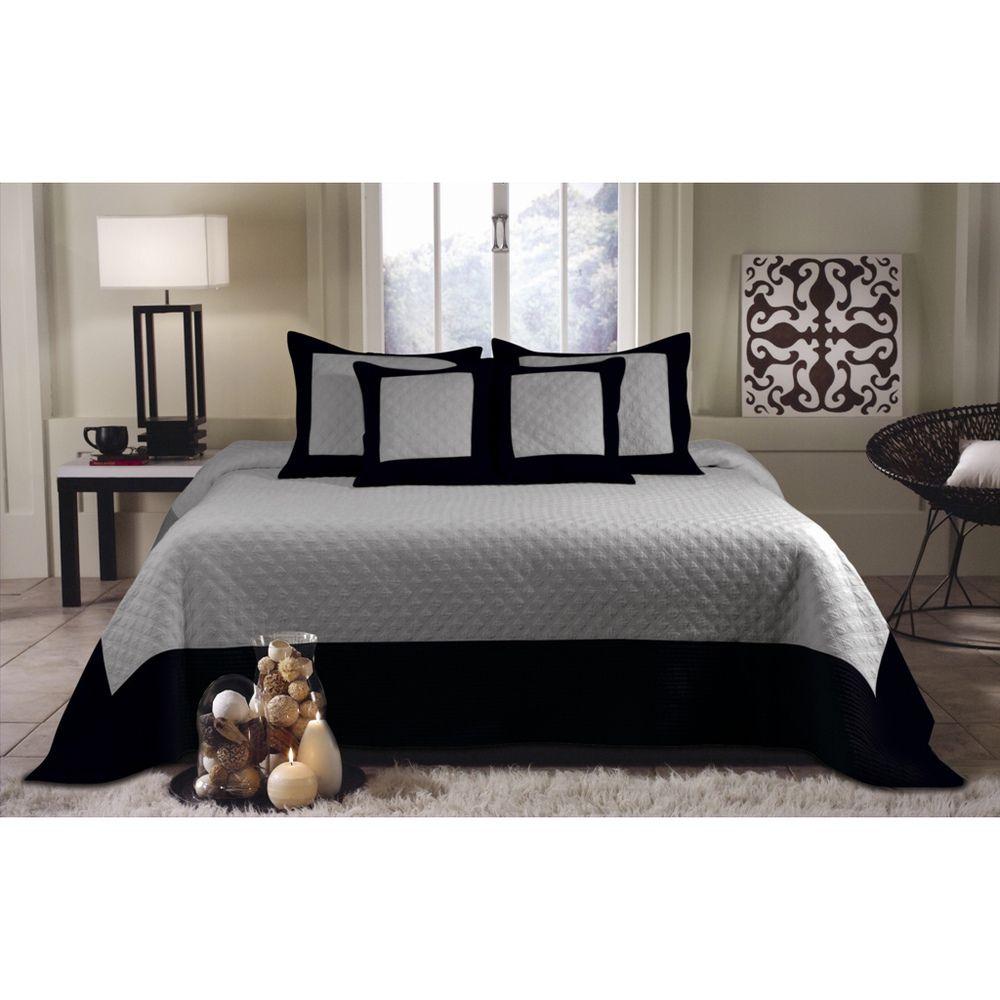 Brentwood Deluxe 5-piece Storm Grey/Black Bedspread Set ...