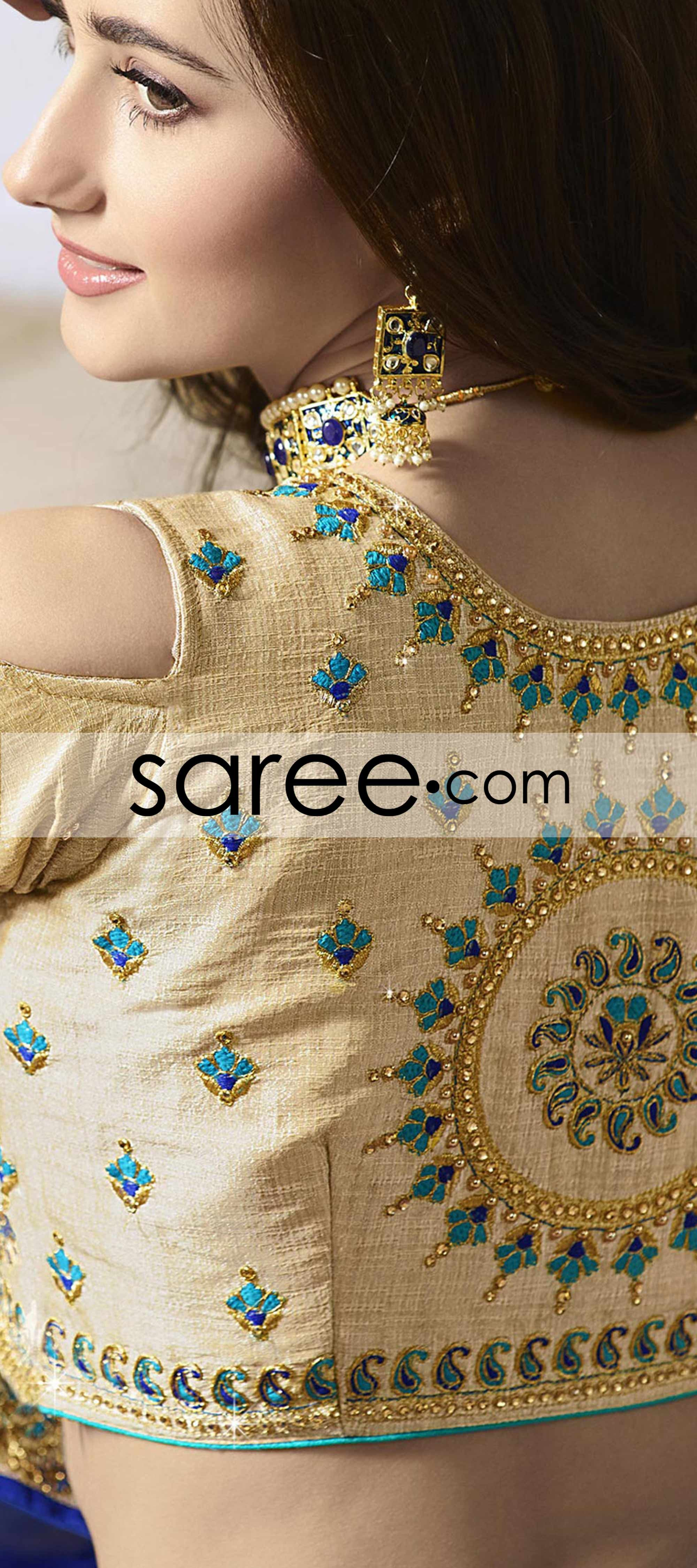 Blue Georgette Saree With Lace Blouse Designs Silk Blouse Design Models Indian Saree Blouses Designs