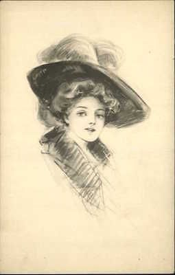 Pretty-Woman-Big-Hat-Schlesinger-Bros-Pencil-Sketch-Old-Postcard-c1910