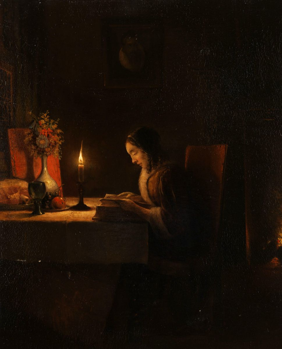Candle Light Painting Woman Reading By Candlelight Petrus Van Schendel Dutch 1806
