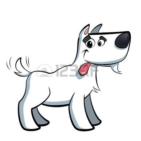 Blanco lindo terrier perro de dibujos animados russell babeo fuera