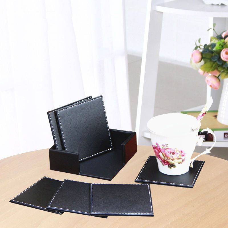 6 Double Deck Leather Coasters Set Placemat Of Cup Mat Pad With Coaster Holder Office Desk Decor Leather Coaster Set Tea Coaster