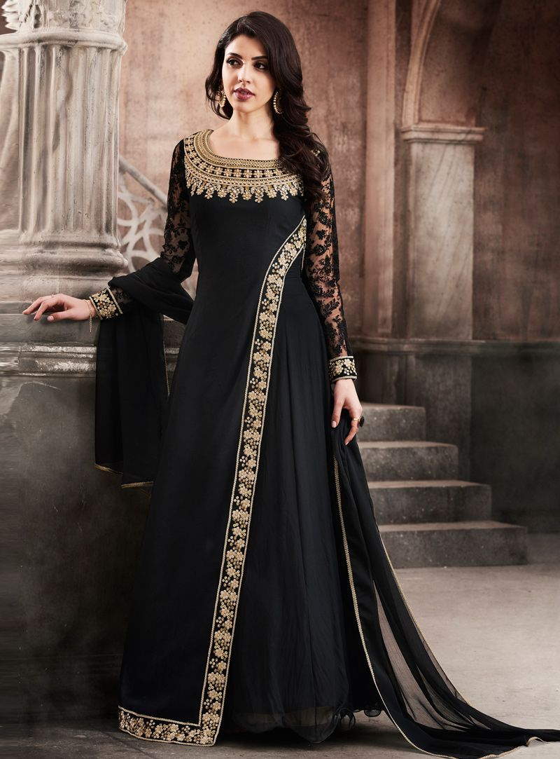 ddfb9b10dd8 Black Georgette Designer Floor Length Anarkali Suit 116760