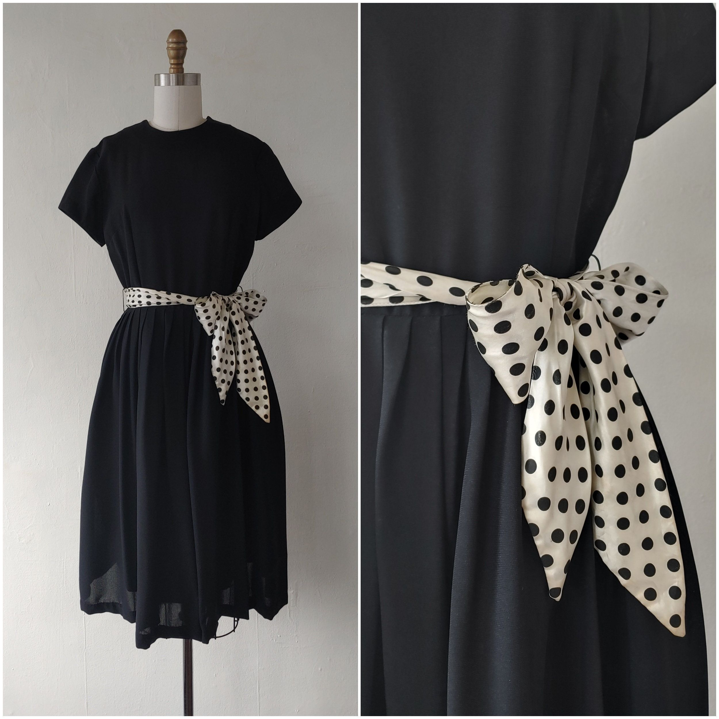 Vintage 1960s Black Dress With White And Black Polka Dot Tie Up Belt Small By Vivianvintage8 On Etsy 60s Fashion Black Dress Dresses [ 2500 x 2500 Pixel ]
