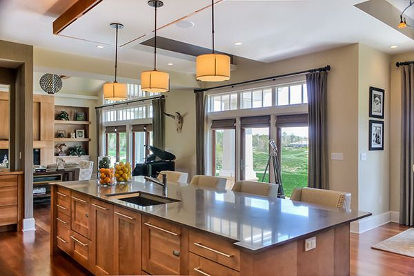 Best Transitional Kitchen Large Island With Birch Wood 400 x 300